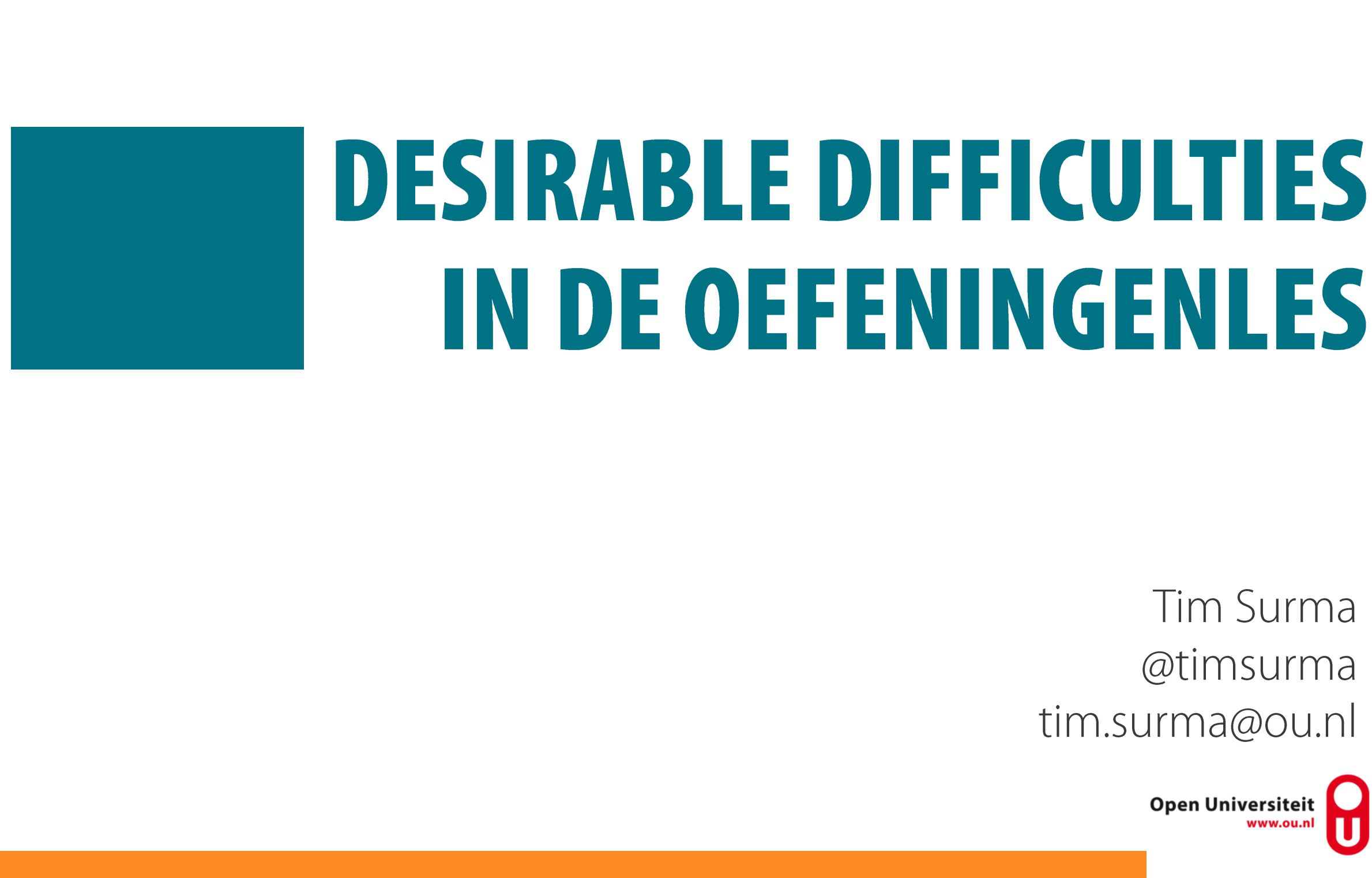 Desirable difficulties in de oefeningenles