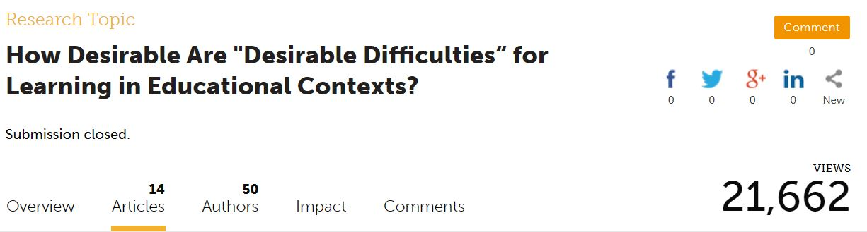 Research topic op Frontiers: desirable difficulties